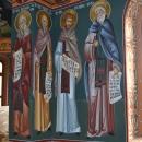 pictura bizantina   Fresca Alba Iulia vedere  Sf. Cuv. Antonie cel Mare Sf. Cuv.  Paisie cel Mare  Sf. Cuv. Visarion  Sf. Cuv. Sofronie