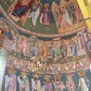 pictura bizantina  fresca altar Inaltarea Domnului Sf Prooroc David Sf  Arh Mihail Maica Domnului pe tron Sf Arh.  Gavriil Sf Prooroc Solomon Impartasirea Apostolilor