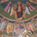 pictura bizantina fresca altar Sf Prooroc David Sf  Arh Mihail Maica Domnului pe tron Sf Arh.  Gavriil Sf Prooroc Solomon Impartasirea Apostolilor