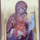 Icoana pe lemn de tei Maica Domnului, foita de aur 24 K ,tehnica Bolos, pictura bizantina