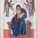 Icoana pe lemn de tei Maica Domnului, pictura bizantina