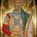 pictura bizantina  Icoana pe lemn Sfantul Mucenic Mina 70x100-cm, foita de aur 24 K