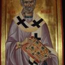 Icoana pe lemn Sfantul Ierarh Nicolae 70x130-cm, foita de aur 24 K