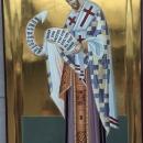 Icoana pe lemn de tei Sf.Ier. Ioan Hrisostom, foita de aur 24 K  pictura bizantina