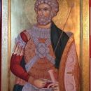 Icoana pe lemn Sf. M. Mc. Mina, foita de aur 24 K  pictura bizantina